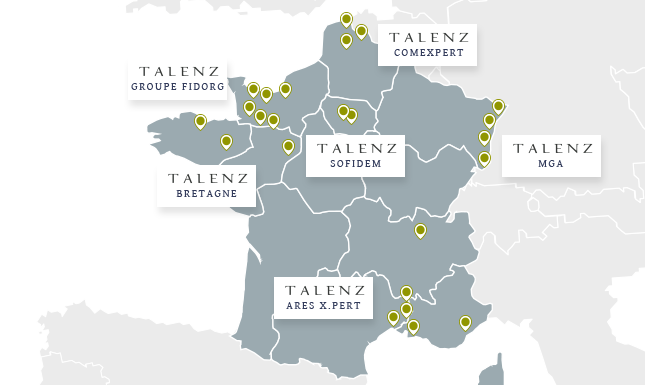 Réseau Talenz carte implantations